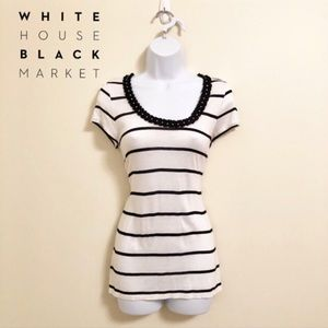 EUC - WHBM - Black and White Striped Tee - S
